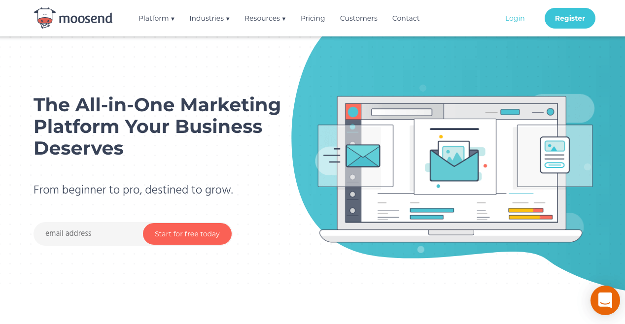 The homepage for Moosend - an all-in-one marketing platform