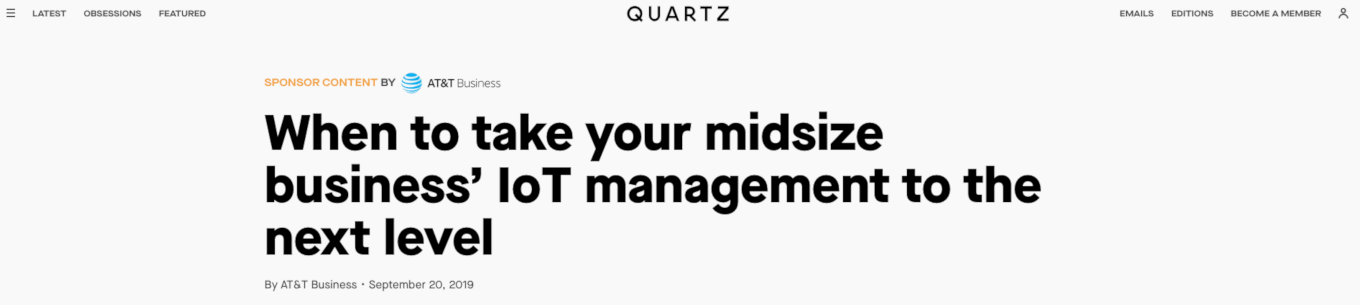 sponsored article headline screenshot. When to take your midsize business' loT management to the next level.
