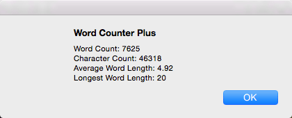 A menu from Word Counter Plus showing the length of a blog post