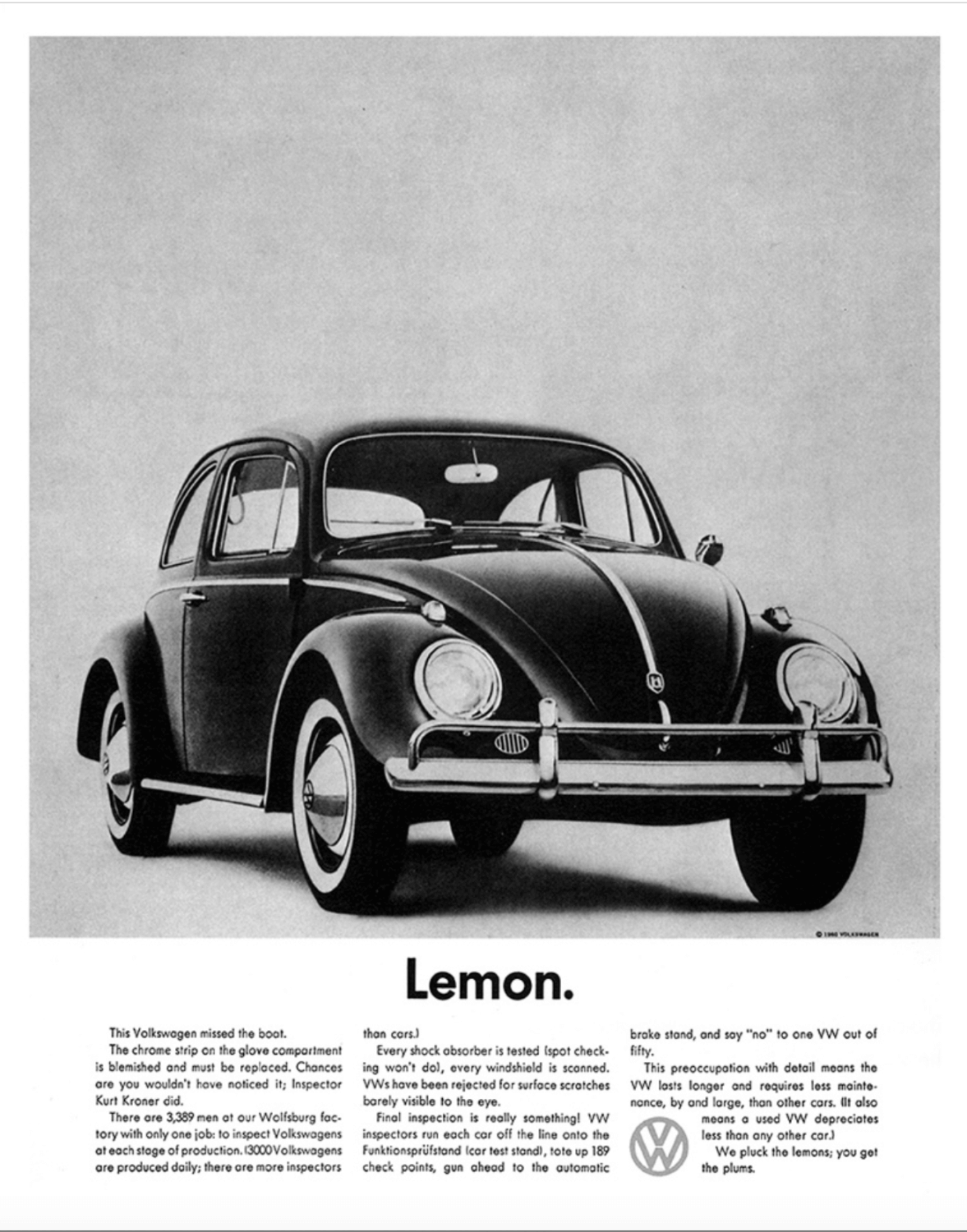 Ad for a Volkswagon Beetle