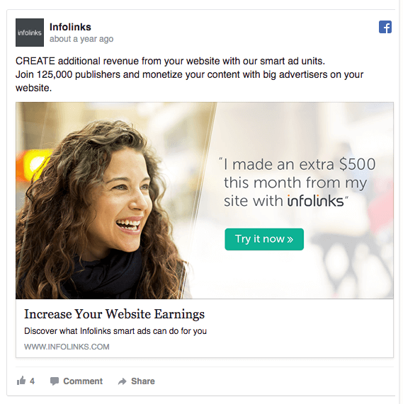 Ad campaign on Facebook from Infolinks