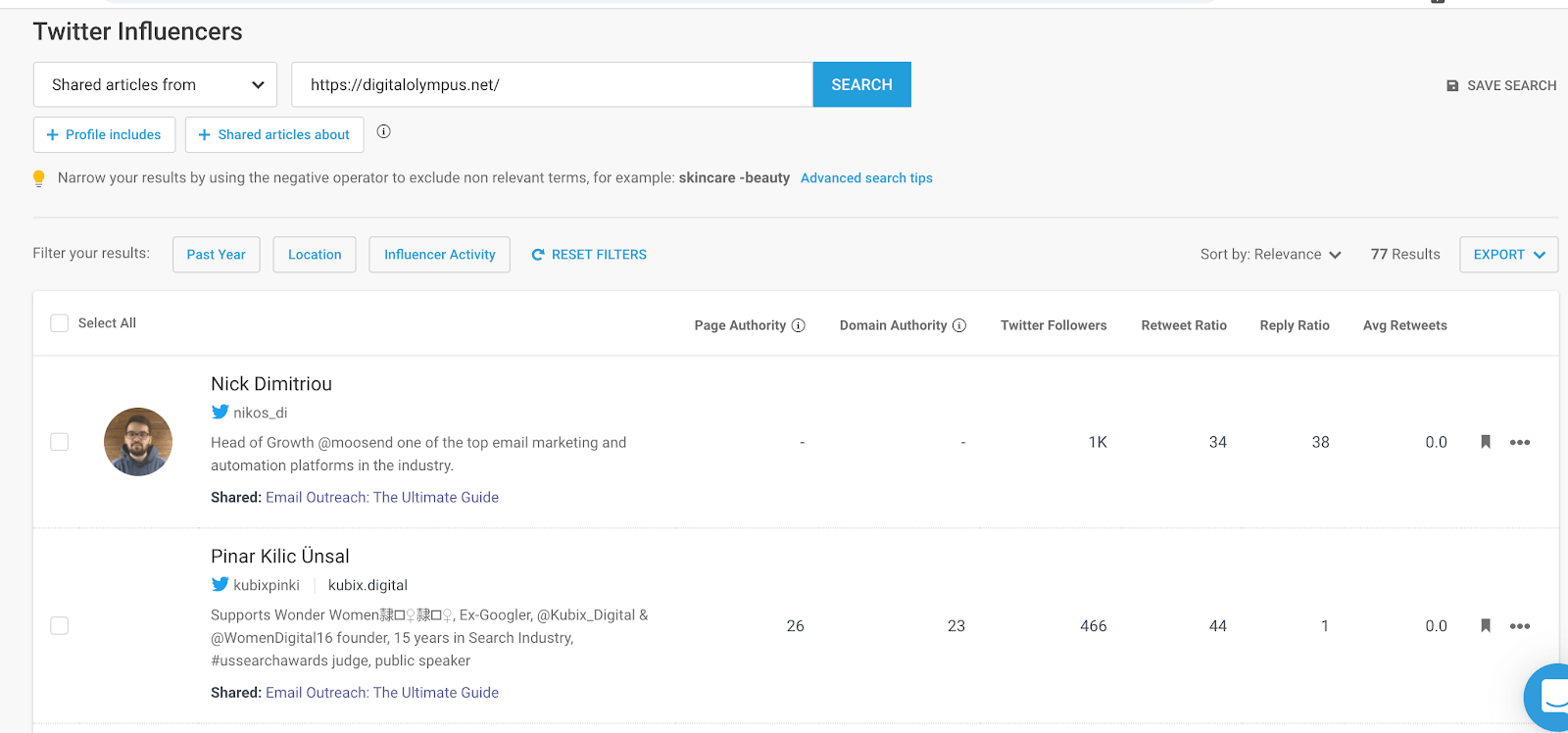 Using BuzzSumo to check which sites are referring to your domain