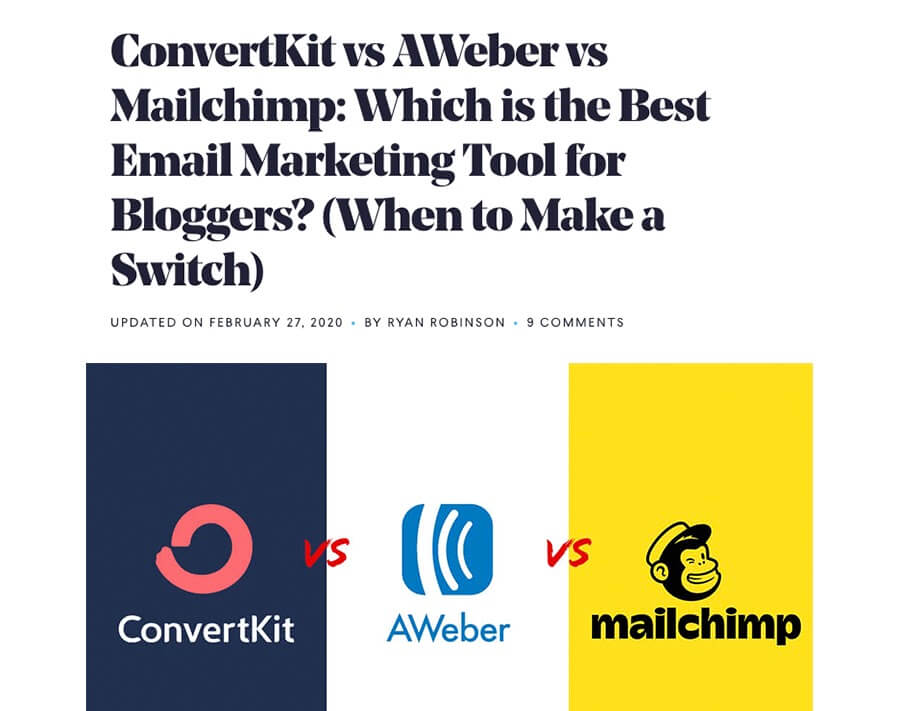 Article about a comparison between ConvertKit, AWeber, and Mailchimp