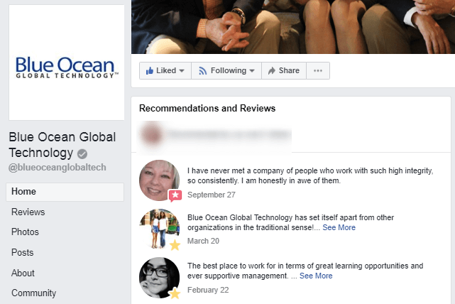 Blue Ocean Global Technology main Facebook page