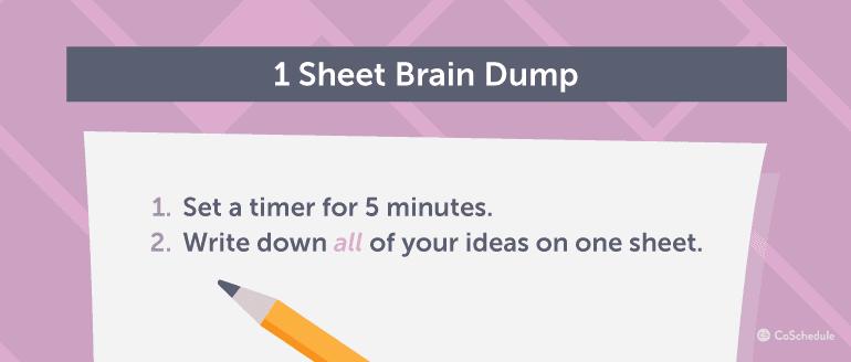 1 Sheet Brain Dump Process