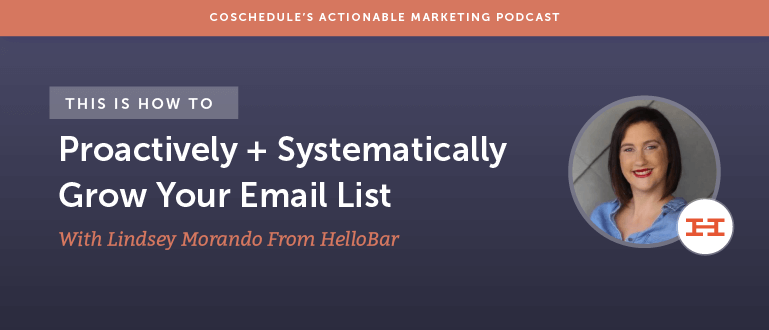 How To Proactively + Systematically Grow Your Email List With Lindsey Morando From HelloBar [AMP 102]