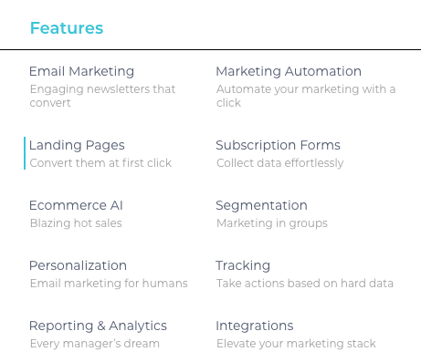 A list of features that Moosend offers