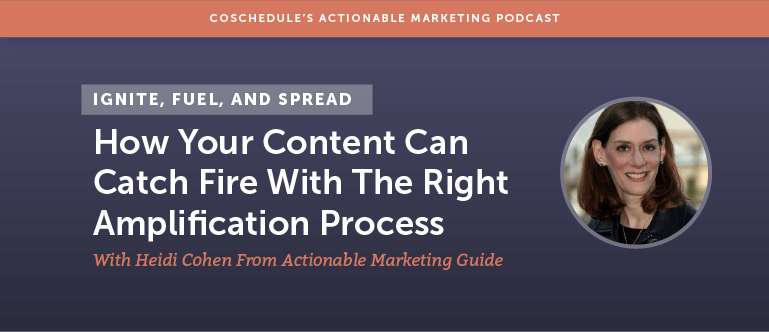 Ignite, Fuel, and Spread: How Your Content Can Catch Fire With The Right Amplification Process With Heidi Cohen From Actionable Marketing Guide [AMP 119]