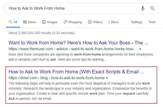 How to ask to work from home Google search results screenshot