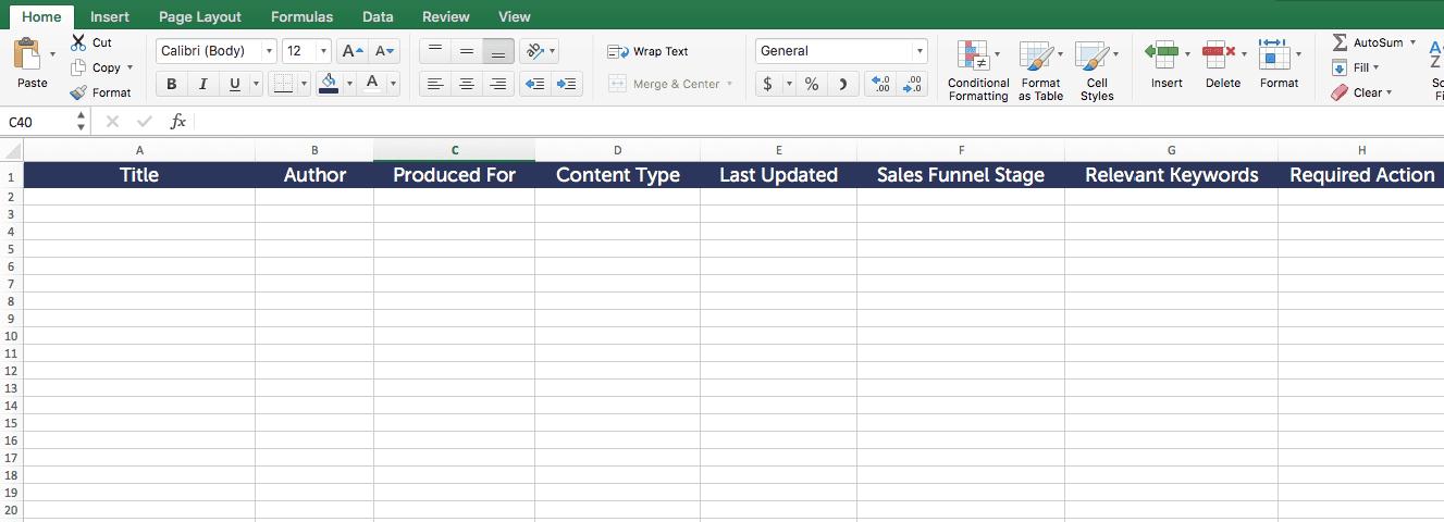 Content audit template spreadsheet.