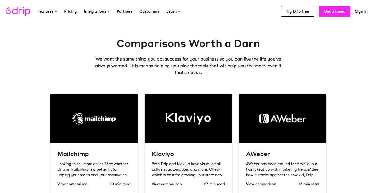 The comparison page on the Drip website that shows how they compare with other competitors