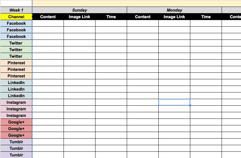 Screenshot of the 2017 content calendar