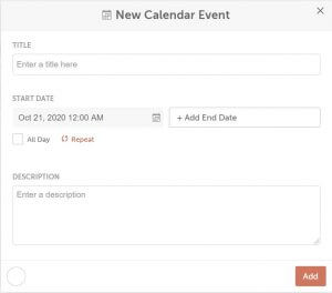 create new calendar event
