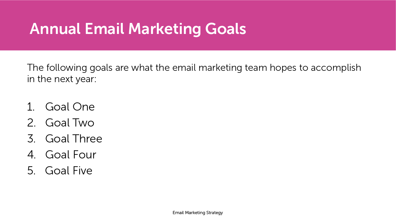 Annual email marketing goals