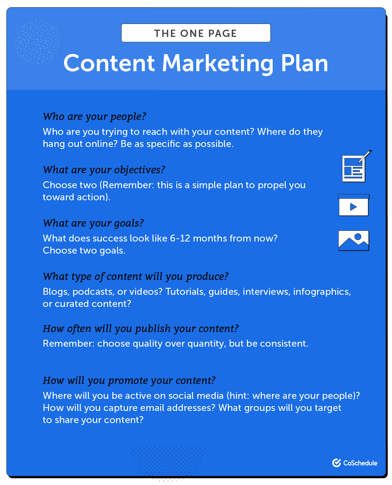 One page content marketing plan.