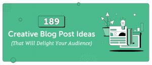 189 creative blog post ideas header