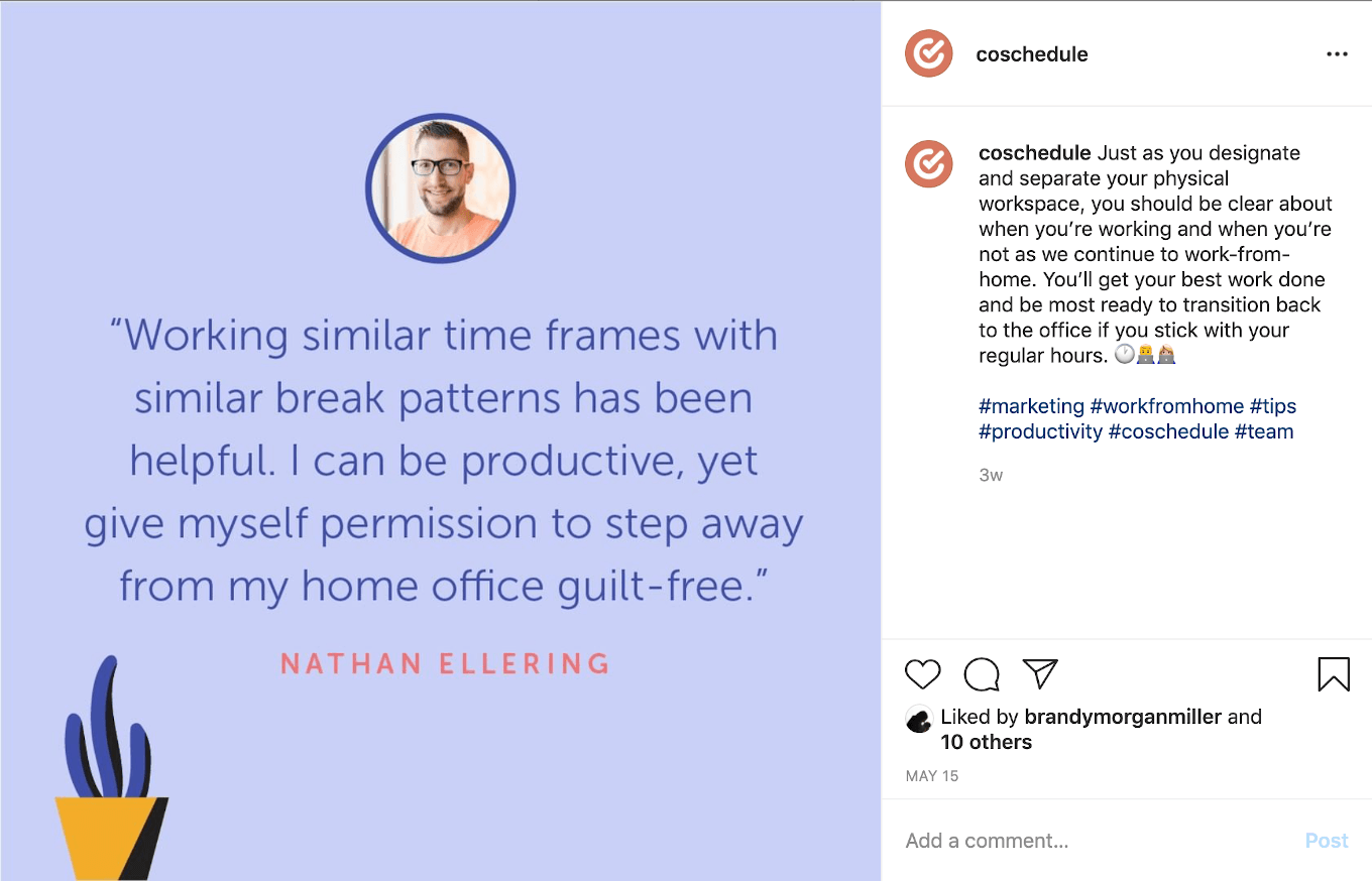 Culture post about CoSchedule on Instagram.
