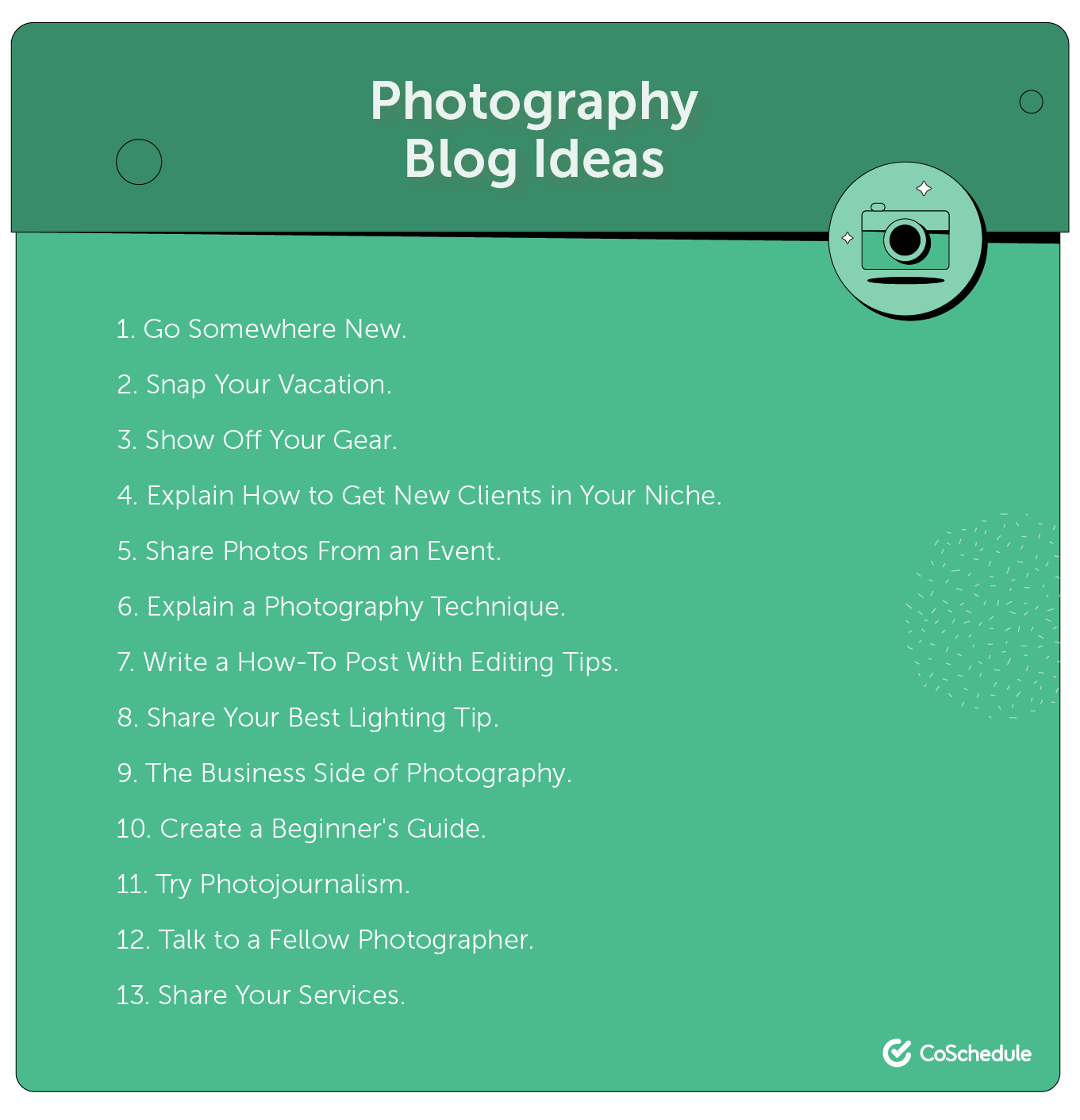 Ideas for a photography blog.
