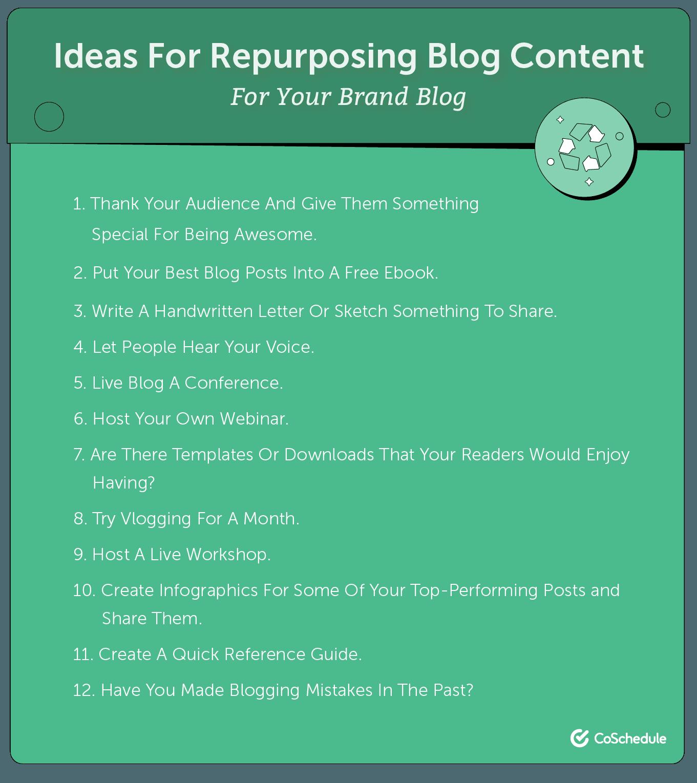 Ideas for repurposing your blog content.