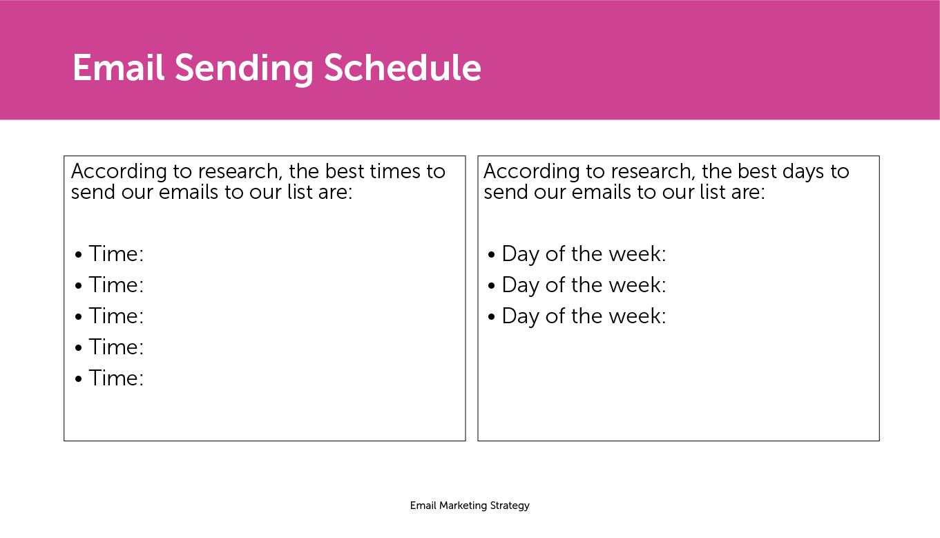 Email sending schedule slide
