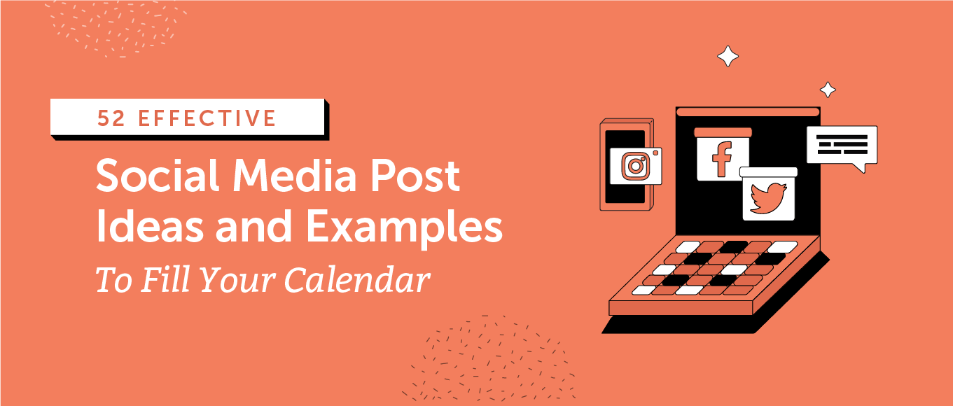 Social media post ideas and examples header.