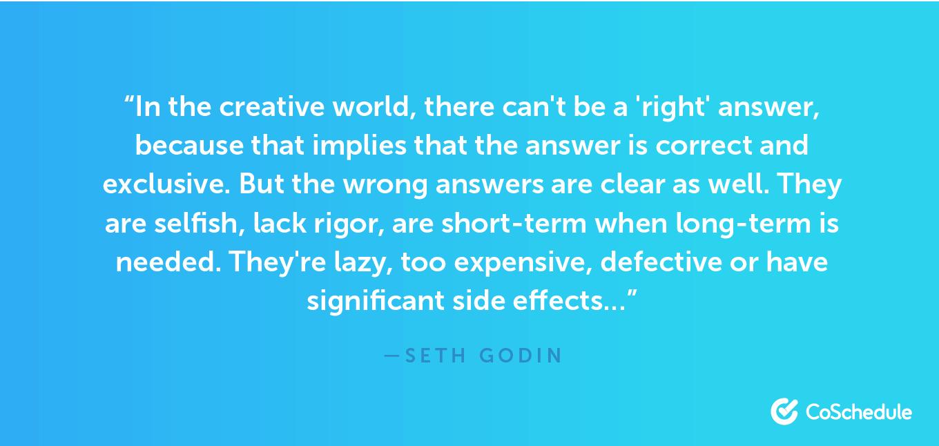 Quote from Seth Godin about right and wrong answers.