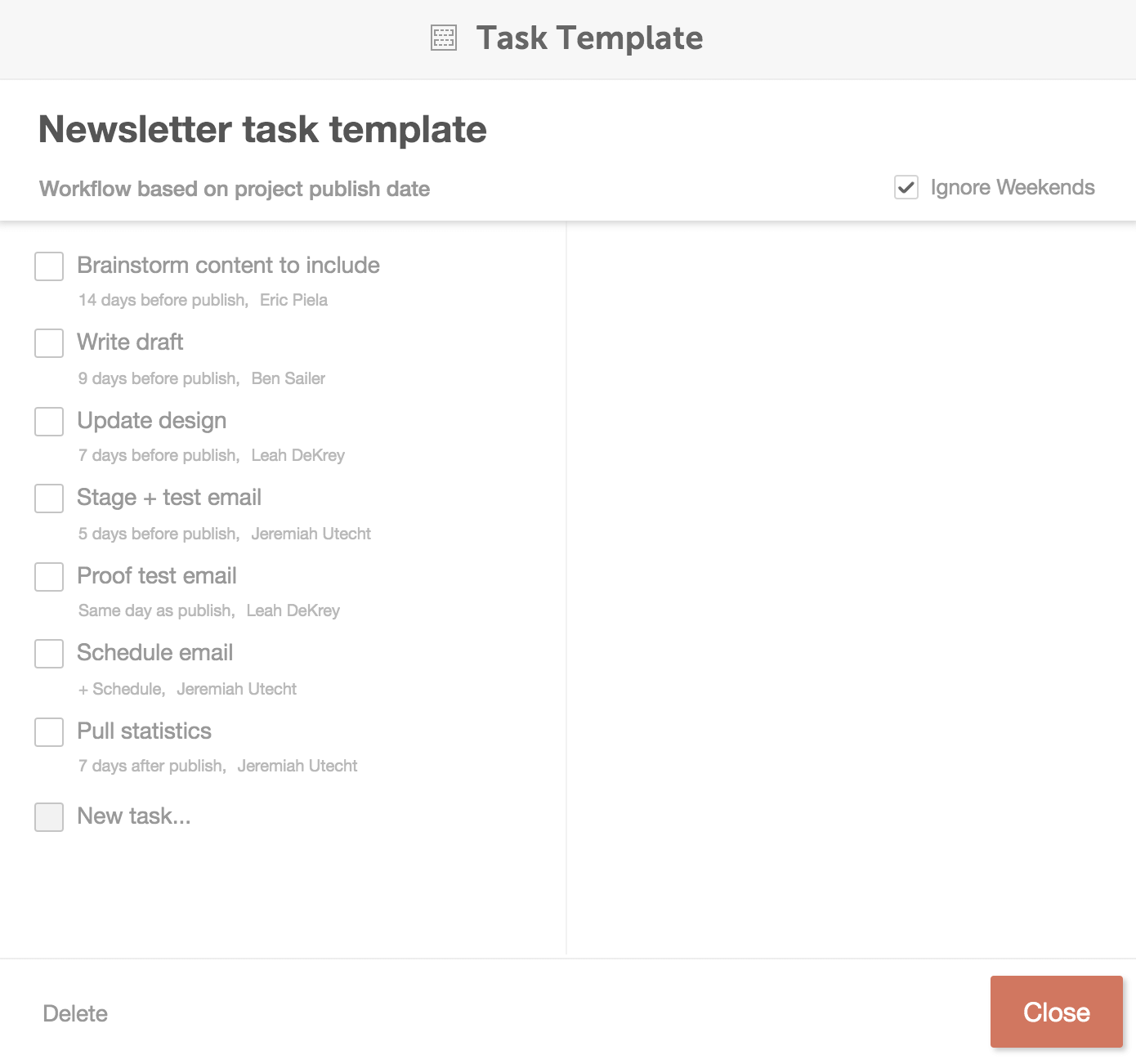 Adding tasks to your new template.