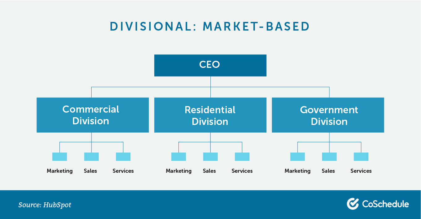 Divisional org chart: market-based.