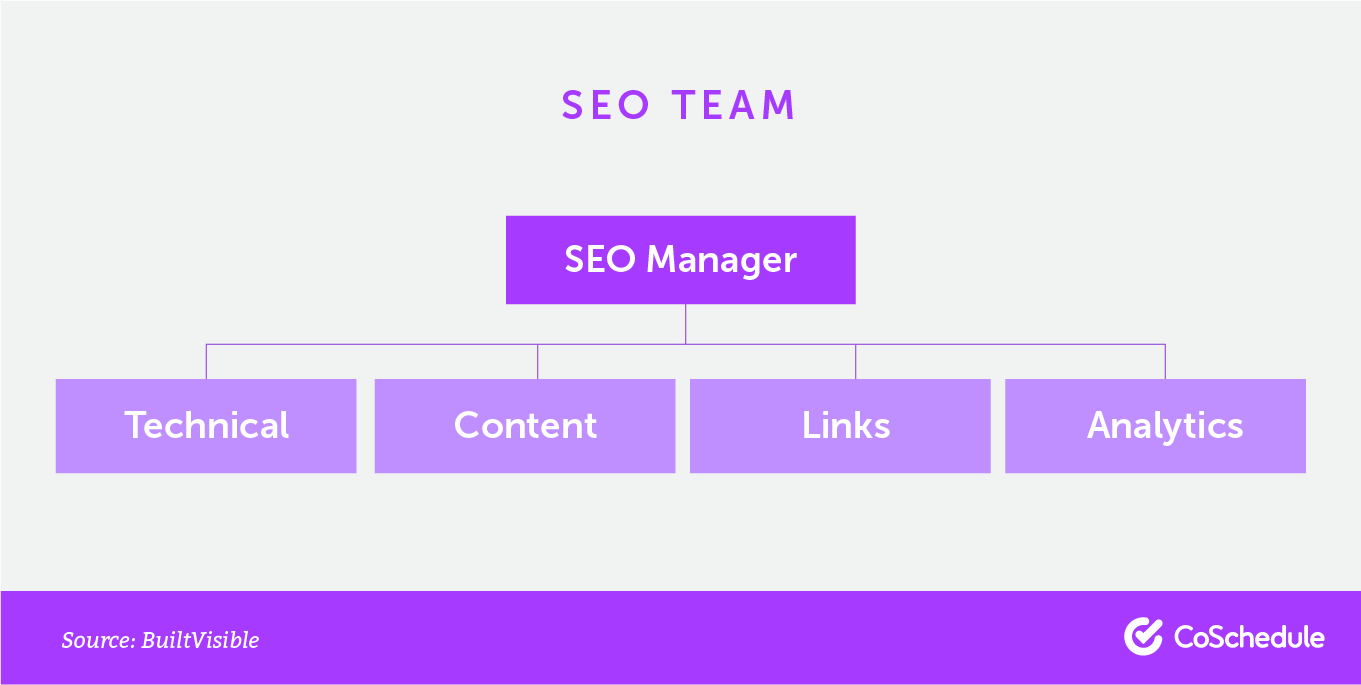 The roles that make up an SEO team.