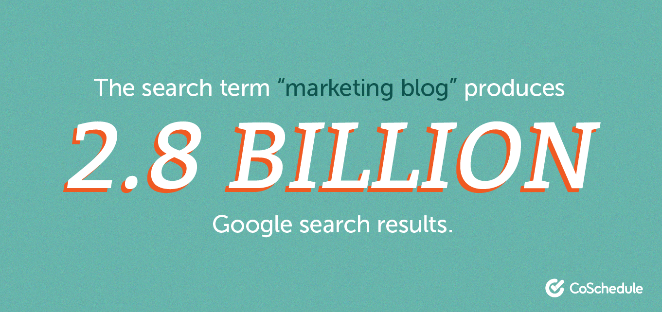 """2.8 billion search results for """"marketing blog"""" on Google."""