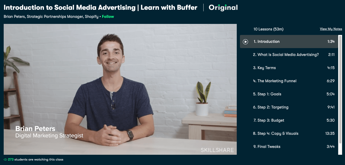 SkillShare's intro to social media ads course.