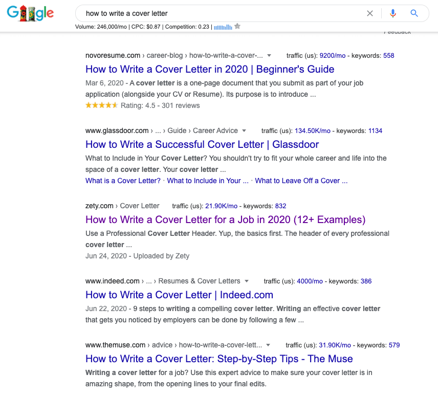 Google search for how to write a cover letter