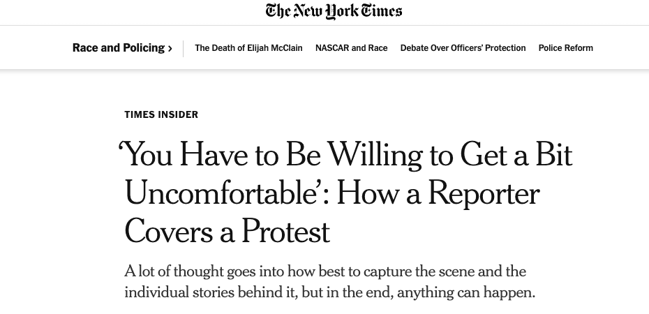 Headline example by the New York Times