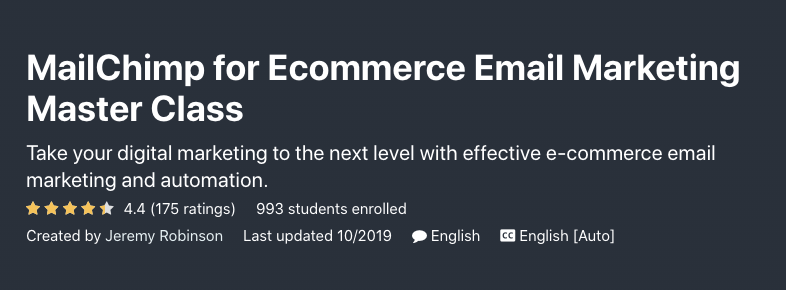Udemy's course on ecommerce email marketing (master class).