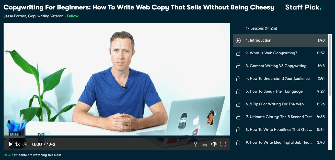 Skillshare's copywriting for beginners course.
