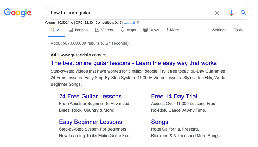 Google search for how to learn guitar