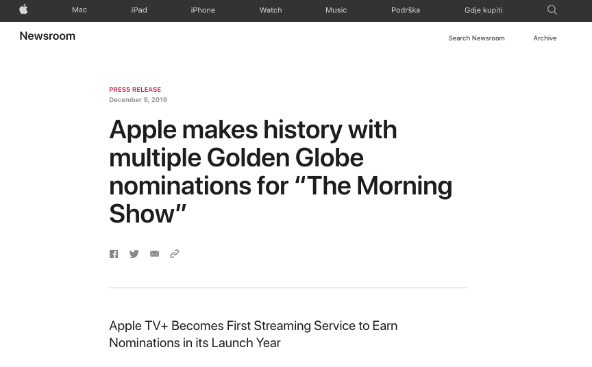 """Making history"" headline from Apple"