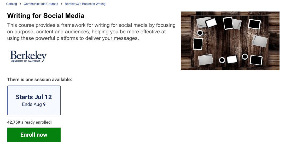 EDX courses on writing for social media.