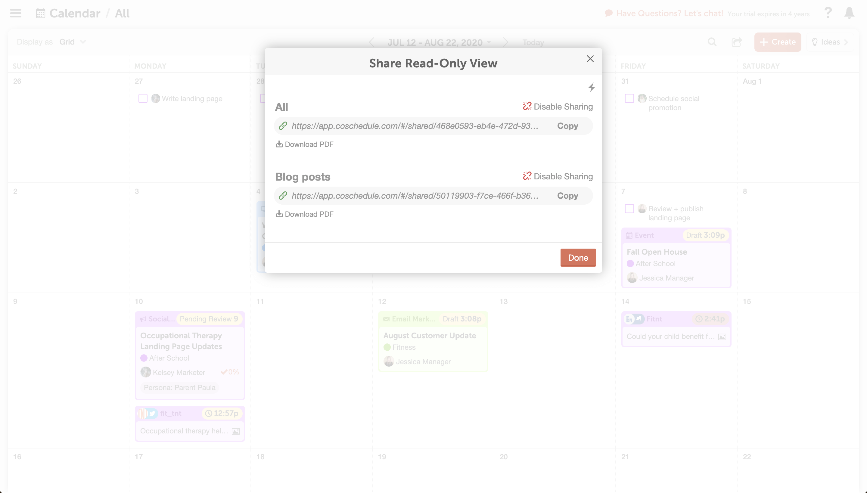 Create Read Only View for Marketing Calendar