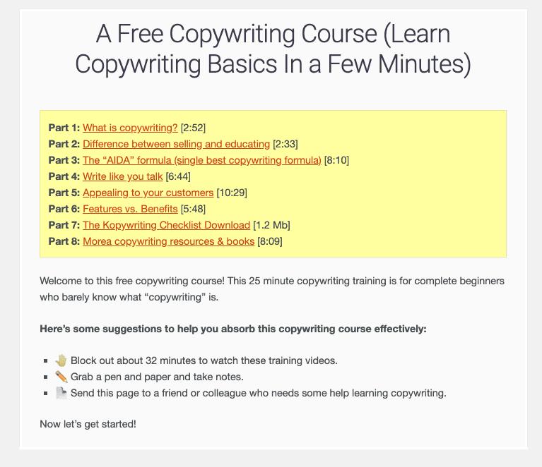 Copywriting Basics from Kopywriting Kourse.