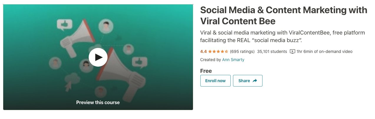 Udemy's social media and content marketing with Viral Content Bee course.