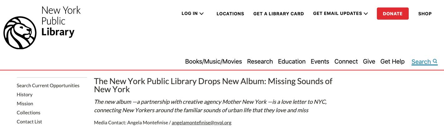 Brand name headline from New York Public Library