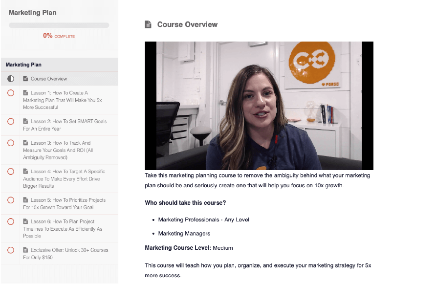 CoSchedule Academy course overview.