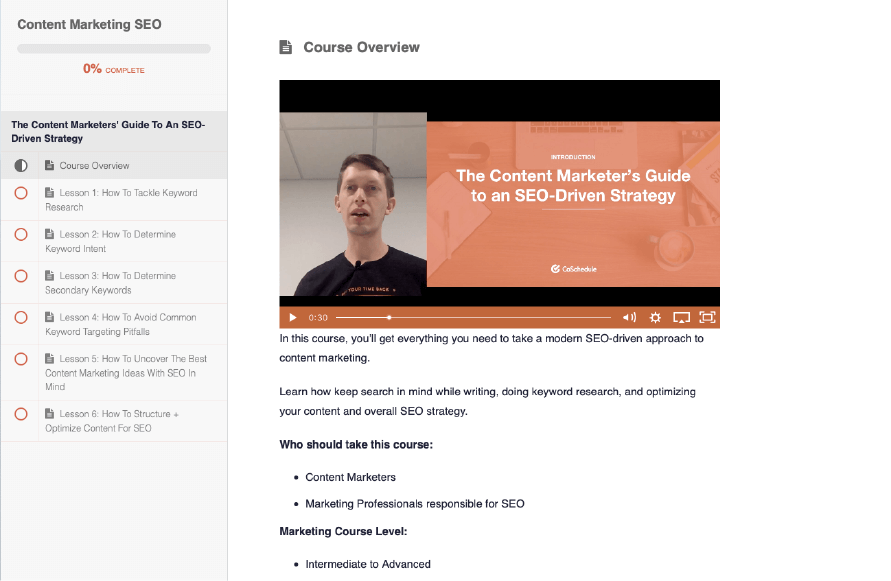 SEO and content marketing course from CoSchedule Academy.