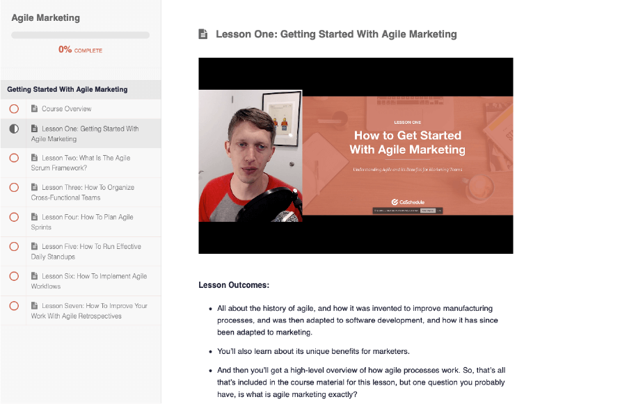 Agile Marketing course from CoSchedule Academy.