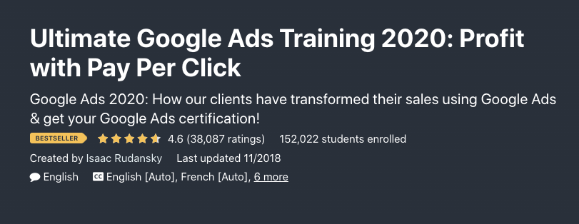 PPC Google ads training from Udemy.