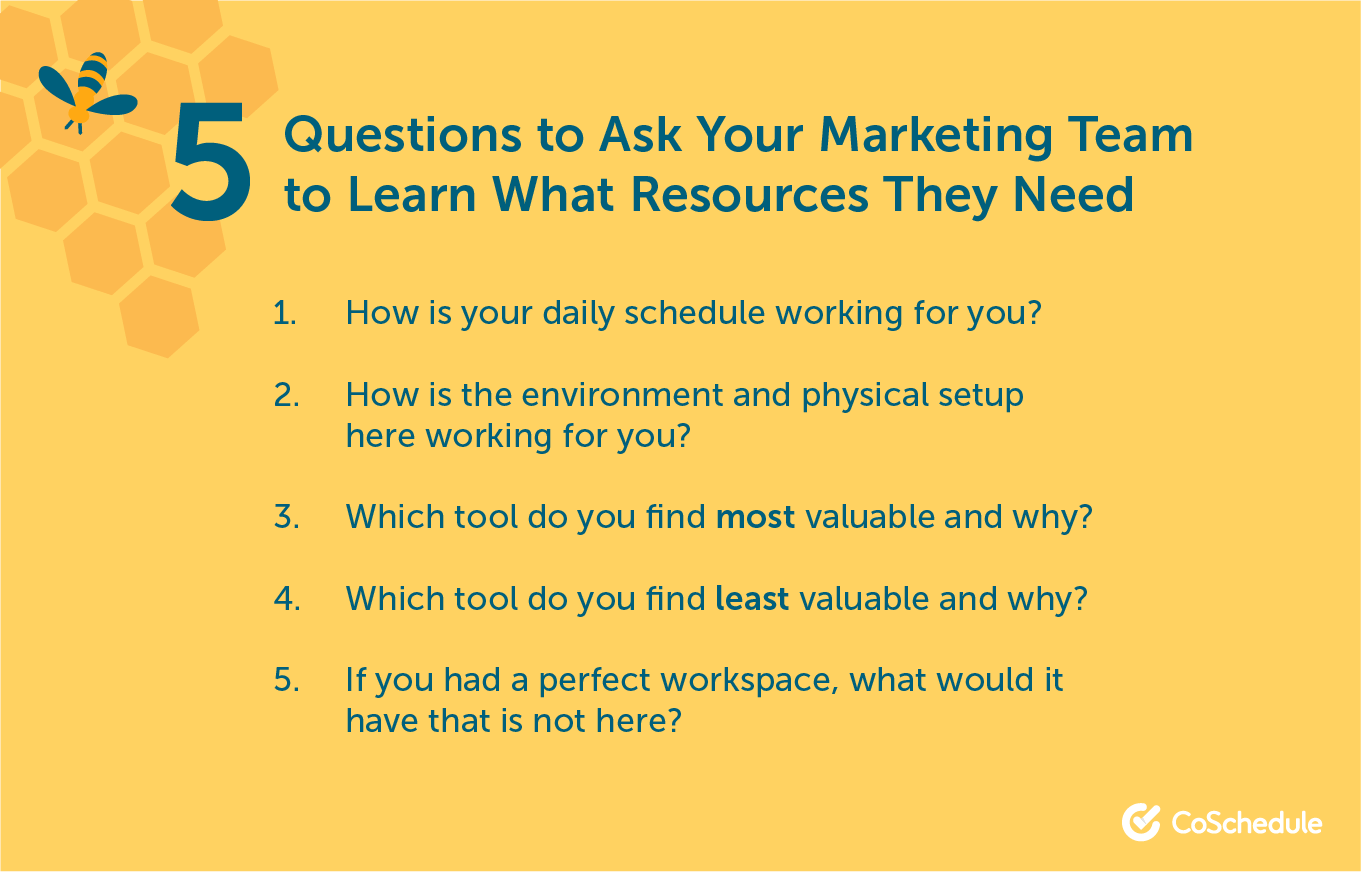 Questions to ask your marketing team to update your resources.