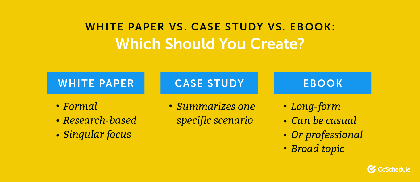Decide whether to choose white papers, case studies, or an ebook.