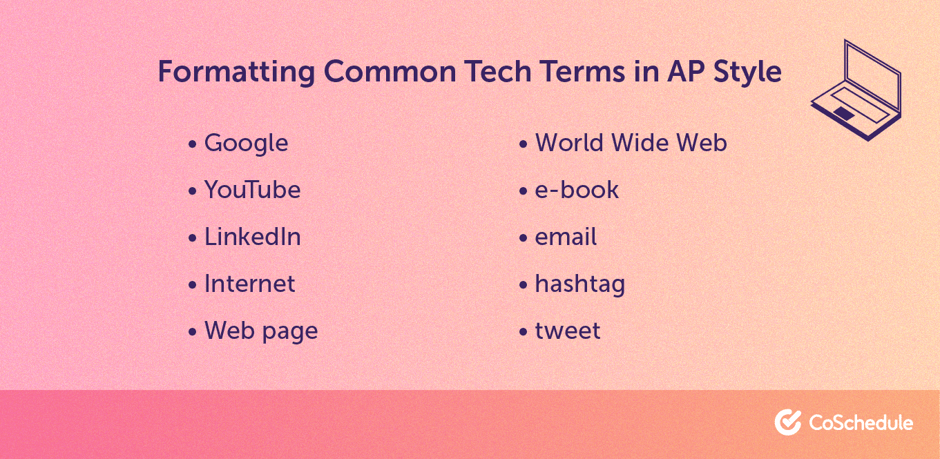 Formatting common tech terms