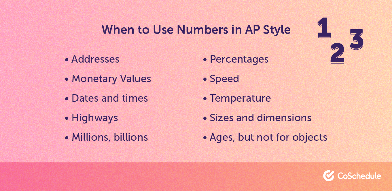 When to use numerals in AP Style